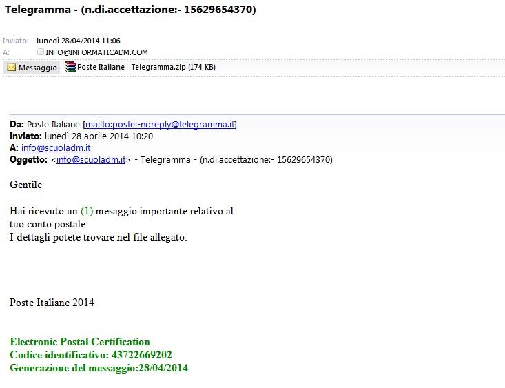 Variante Truffa Online Telegramma Poste Italiane Informaticadm