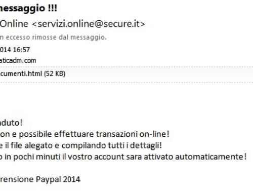 Truffa PayPal servizi online