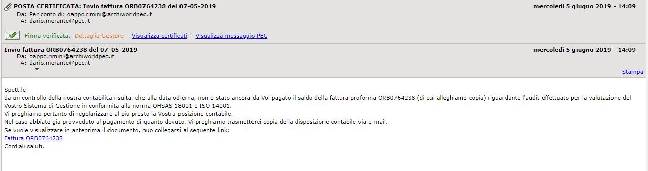 certificata spam